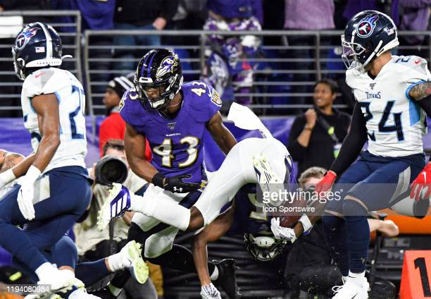 Baltimore Ravens wide receiver Marquise Brown is updended on a kickoff retrurn on January 11 at MT Bank Stadium in Baltimore MD in the AFC Divisional...