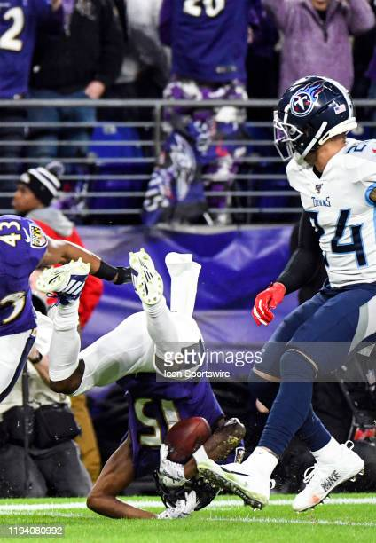 Baltimore Ravens wide receiver Marquise Brown is updended on a kickoff return on January 11 at MT Bank Stadium in Baltimore MD in the AFC Divisional...