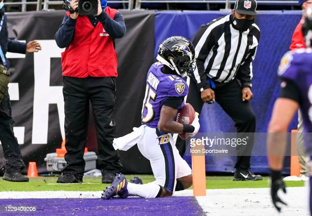 Baltimore Ravens wide receiver Marquise Brown makes a catch that was ruled out of bounds in the end zone during the Pittsburgh Steeler game versus...