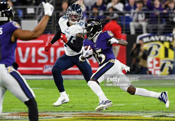 Baltimore Ravens wide receiver Marquise Brown makes a pass reception on January 11 at MT Bank Stadium in Baltimore MD in the AFC Divisional Playoff...