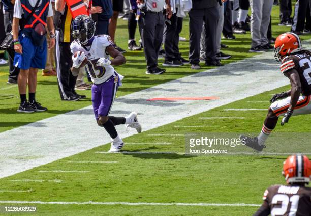 Baltimore Ravens wide receiver Marquise Brown makes a reception against Cleveland Browns cornerback Tavierre Thomas on September 13 at M&T Bank...