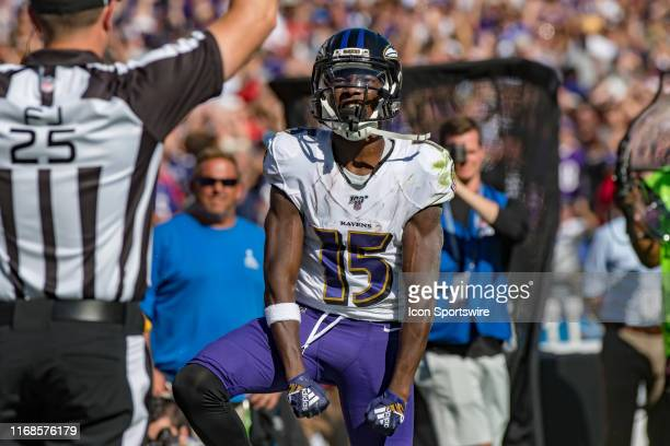 Baltimore Ravens wide receiver Marquise Brown reacts during the second half of the National Football League game between the Arizona Cardinals and...