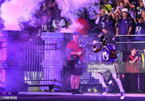 Baltimore Ravens wide receiver Marquise Brown takes the field for the game against the Tennessee Titans on January 11 at M&T Bank Stadium in...