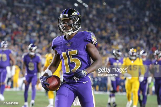 Baltimore Ravens wide receiver Marquise Brown with touchdown catch during the Baltimore Ravens vs Los Angeles Rams football game on November 25 at...