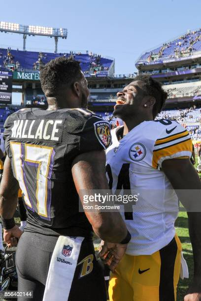 Baltimore Ravens wide receiver Mike Wallace greets Pittsburgh Steelers wide receiver Antonio Brown following their game on October 1 at MT Bank...