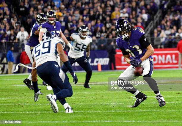 Baltimore Ravens wide receiver Willie Snead IV bobbles a pass reception on January 11 at MT Bank Stadium in Baltimore MD in the AFC Divisional...