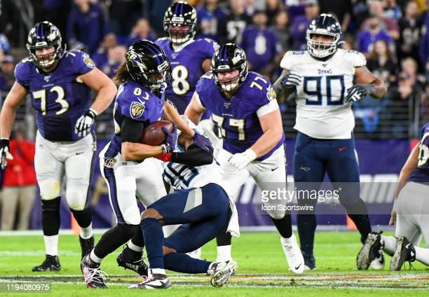Baltimore Ravens wide receiver Willie Snead IV makes a reception against Tennessee Titans cornerback Logan Ryan on January 11 at MT Bank Stadium in...