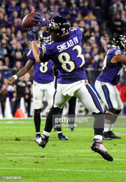 Baltimore Ravens wide receiver Willie Snead IV reaches back for a pass on January 11 at MT Bank Stadium in Baltimore MD in the AFC Divisional Playoff...