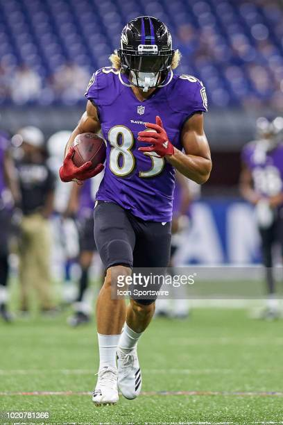 Baltimore Ravens wide receiver Willie Snead warms up with the football prior to game action during the preseason NFL game between the Indianapolis...