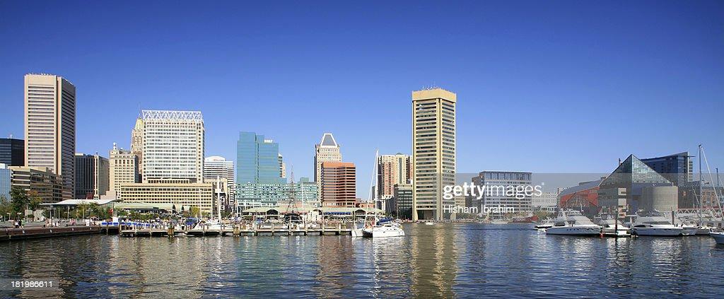 Baltimore Skyline And Inner Harbor Md Stock Photo