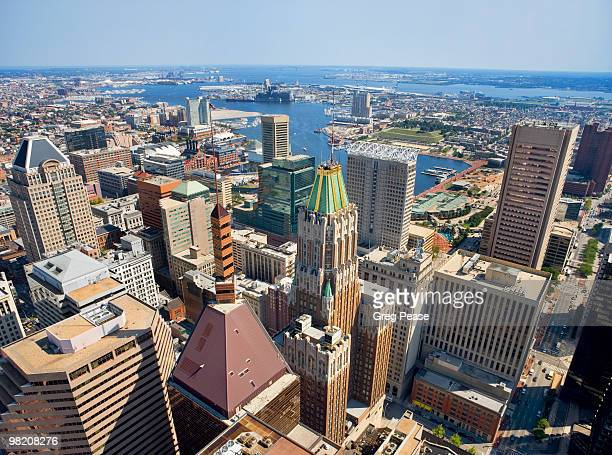 baltimore skyline and inner harbor - baltimore maryland stock pictures, royalty-free photos & images