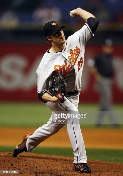 Baltimore starting pitcher Adam Loewen makes a pitch during Monday night's action against Tampa Bay at Tropicana Field in St Petersburg Florida on...