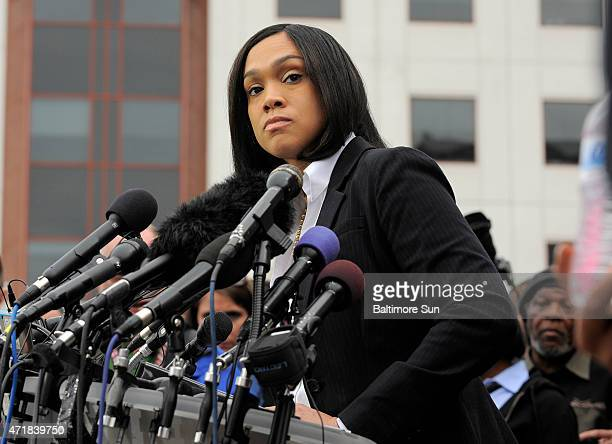 Baltimore State Attorney Marilyn Mosby answers questions at a press conference outside the War Memorial Building on May 1 talking about the arrests...