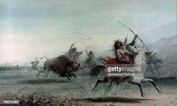 USA Baltimore The Walters Art Gallery Whole artwork view American Indians with bow and arrows hunting a bison in the prairie