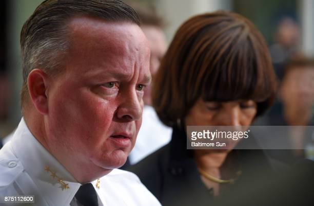 BaltimoreMD11/16/17 Baltimore Police Commissioner Kevin Davis and Mayor Catherine Pugh at a press conference announcing that Detective Sean Suiter an...