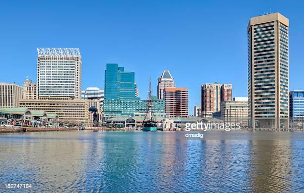 Baltimore's Inner Harbor Buildings Reflecting in Water Under Blue Sky