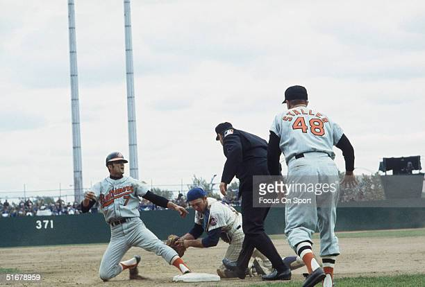 Baltimore's Mark Belenger is declared safe at first base against the New York Mets during the 1969 World Series at Shea Stadium in Flushing New York
