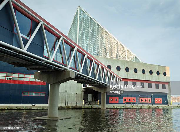 baltimore's national aquarium and walkway at inner harbor - baltimore stock photos and pictures