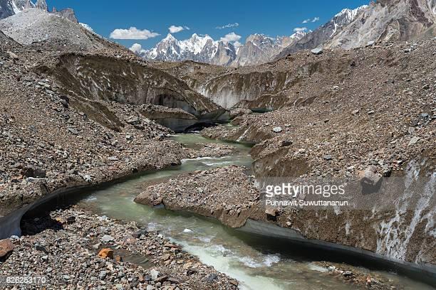 Baltoro glacier zigzag canal with Paiju peak background, K2 trek, Pakistan