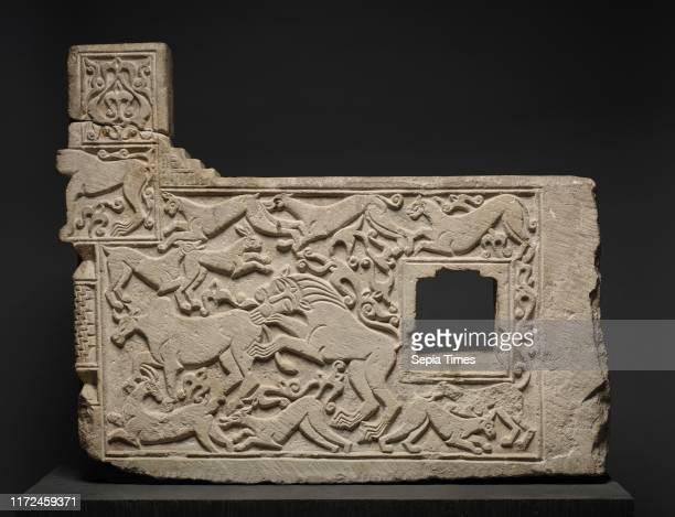 Balustrade Fragment with Animals 13031304 Iran probably Hamadan Ilkhanid period Limestone overall 667 x 838 x 106 cm