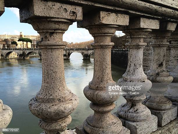 Balustrade On Bridge Over River