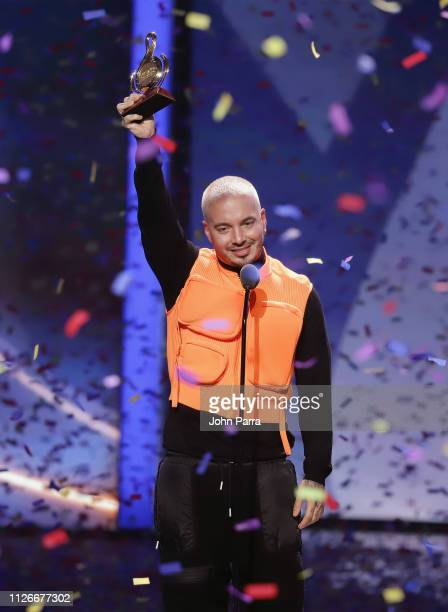 Balvin accepts an award on stage at Univision's 31st Edition Of Premio Lo Nuestro A La Musica Latin at American Airlines Arena on February 21 2019 in...