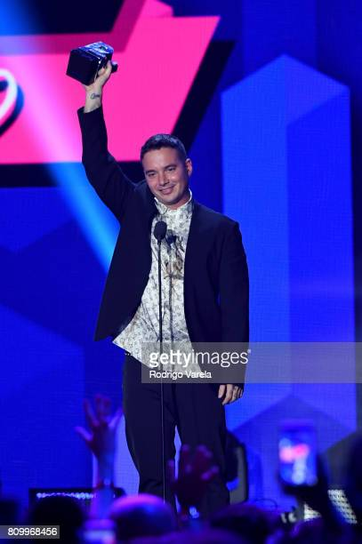 Balvin accepts an award on stage during Univision's 'Premios Juventud' 2017 Celebrates The Hottest Musical Artists And Young Latinos ChangeMakers at...