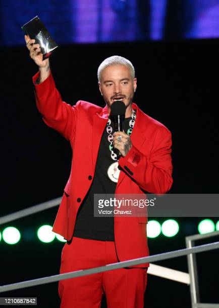 Balvin accepts award for 'Artista Más Compartido' onstage during the 2020 Spotify Awards at the Auditorio Nacional on March 05, 2020 in Mexico City,...