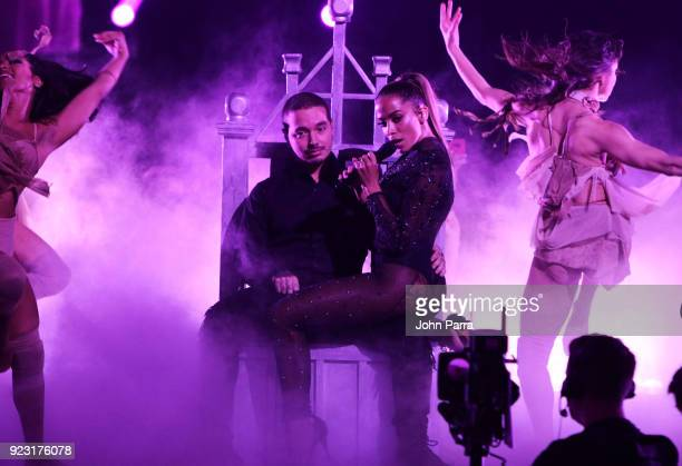 J Balvin and Anitta perform onstage during Univision's 30th Edition Of 'Premio Lo Nuestro A La Musica Latina' at American Airlines Arena on February...