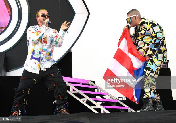 Balvin and Bad Bunny perform on Coachella Stage during the 2019 Coachella Valley Music And Arts Festival on April 14 2019 in Indio California
