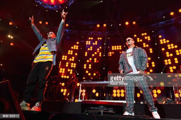 J Balvin and Bad Bunny perform onstage during Calibash Los Angeles 2018 at Staples Center on January 20 2018 in Los Angeles California
