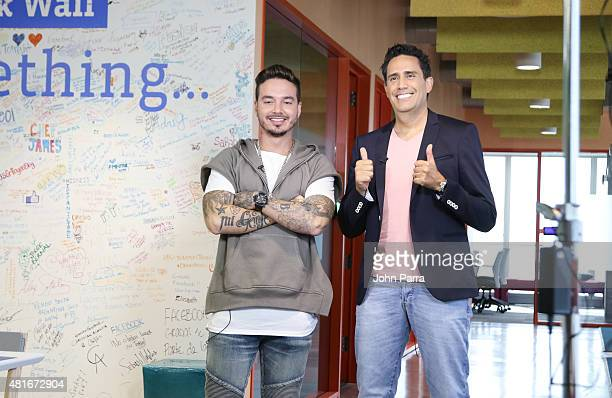 J Balvin and Camilo Montoya announce Telemundo's Premios Tu Mundo Awards nominations Live on FACEBOOK at the Facebook office on July 23 2015 in Miami...