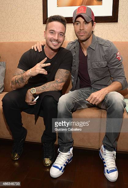 Balvin and Enrique Iglesias attend the Enrique Iglesias Pitbull Fall Tour announcement with J Balvin as support event at JW Marriott Marquis on April...