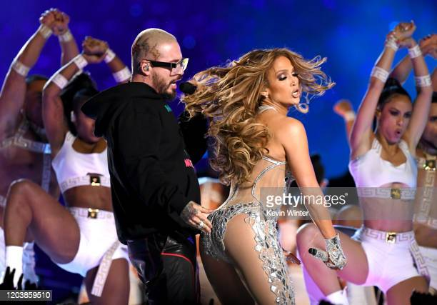 J Balvin and Jennifer Lopez perform onstage during the Pepsi Super Bowl LIV Halftime Show at Hard Rock Stadium on February 02 2020 in Miami Florida