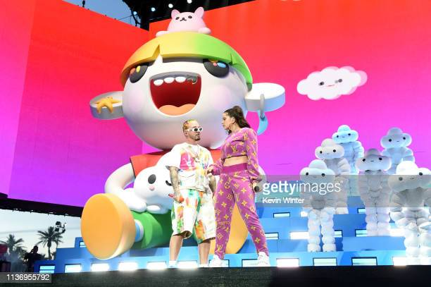 Balvin and Rosalia perform at Coachella Stage during the 2019 Coachella Valley Music And Arts Festival on April 13, 2019 in Indio, California.