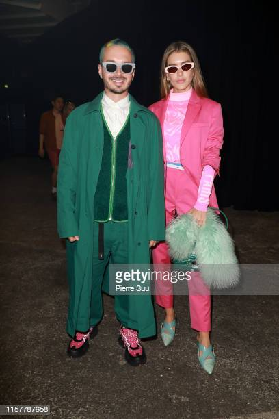 Balvin and Valentina Ferrer attend the Kenzo Spring Summer 2020 show as part of Paris Fashion Week on June 23, 2019 in Paris, France.