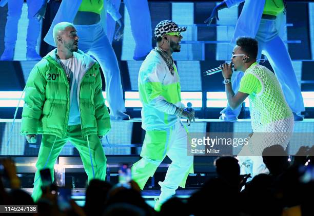 J Balvin Anuel AA and Ozuna perform during the 2019 Billboard Latin Music Awards at the Mandalay Bay Events Center on April 25 2019 in Las Vegas...
