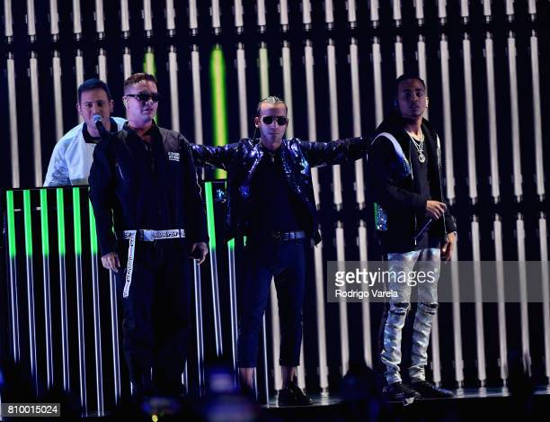 Balvin Arcangel an Ozuna perform on stage during Univision's 'Premios Juventud' 2017 Celebrates The Hottest Musical Artists And Young Latinos...