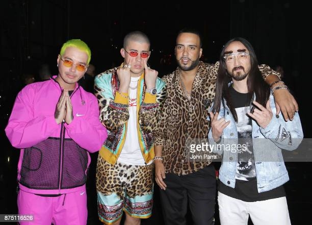 J Balvin Bad Bunny French Montana and Steve Aoki attend The 18th Annual Latin Grammy Awards at MGM Grand Garden Arena on November 16 2017 in Las...
