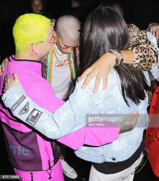 Balvin Bad Bunny French Montana and Steve Aoki attend The 18th Annual Latin Grammy Awards at MGM Grand Garden Arena on November 16 2017 in Las Vegas...