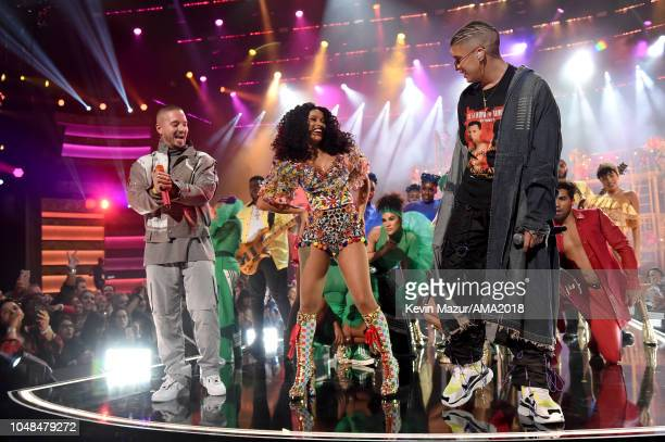 J Balvin Cardi B and Bad Bunny perform onstage during the 2018 American Music Awards at Microsoft Theater on October 9 2018 in Los Angeles California