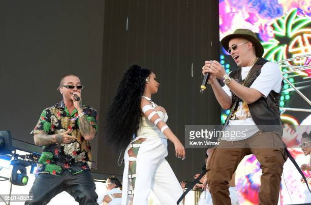 J Balvin Cardi B and Bad Bunny perform onstage during the 2018 Coachella Valley Music And Arts Festival at the Empire Polo Field on April 22 2018 in...