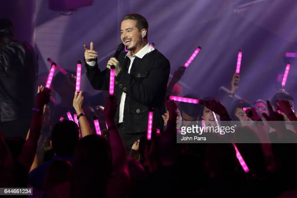 J Balvin gives a private performance during Univision's 29th Edition Of Premio Lo Nuestro A La Musica Latina at American Airlines Arena on February...