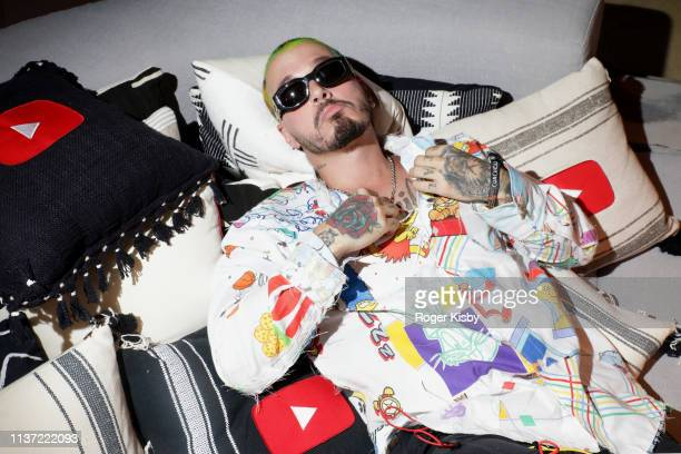 Balvin is seen at the YouTube Music Artist Lounge at Coachella 2019 on April 14 2019 in Indio California