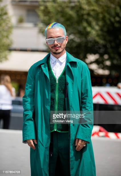 Balvin is seen wearing green coat sunglasses outside Kenzo during Paris Fashion Week Menswear Spring/Summer 2020 on June 23 2019 in Paris France