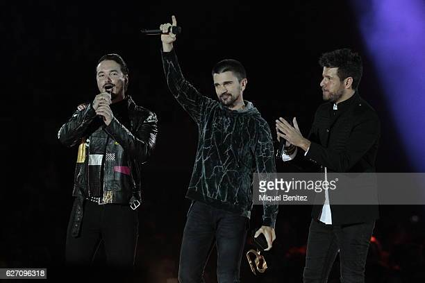J Balvin Juanes and Pablo Lopez attend the Los 40 Music Awards 2016 at Palau Sant Jordion December 1 2016 in Barcelona Spain