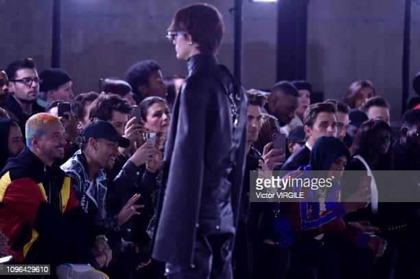 Balvin Neymar Pierre Niney Carlo Sestini and A Boogie Wit Da Hoodie during the Balmain Homme Menswear Fall/Winter 20192020 fashion show as part of...