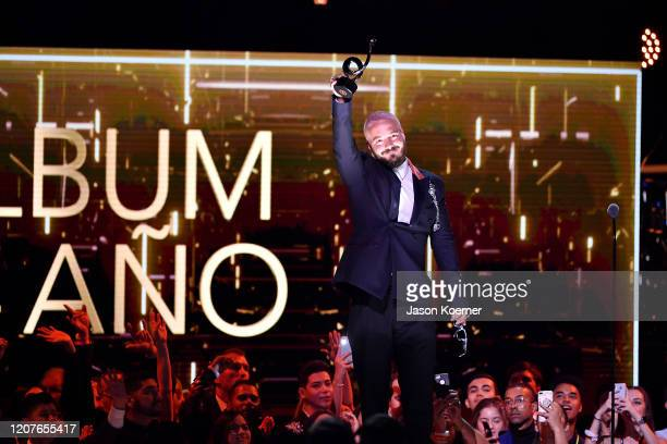 Balvin on stage during Univision's Premio Lo Nuestro 2020 at AmericanAirlines Arena on February 20, 2020 in Miami, Florida.