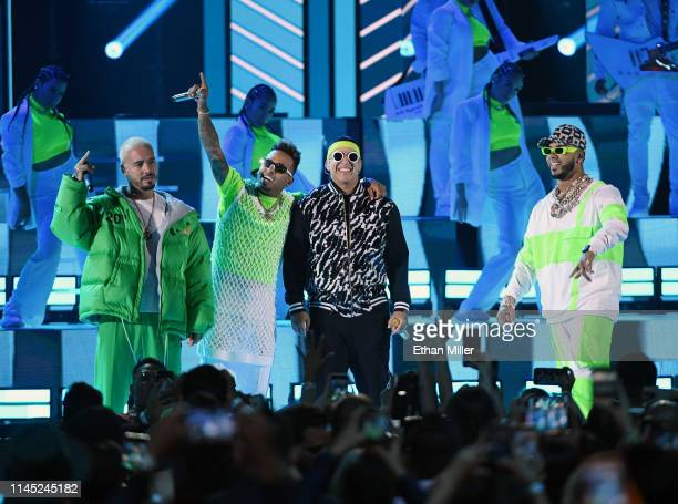 Balvin, Ozuna, Daddy Yankee and Anuel AA perform during the 2019 Billboard Latin Music Awards at the Mandalay Bay Events Center on April 25, 2019 in...