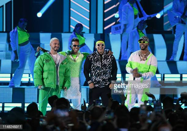 J Balvin Ozuna Daddy Yankee and Anuel AA perform during the 2019 Billboard Latin Music Awards at the Mandalay Bay Events Center on April 25 2019 in...